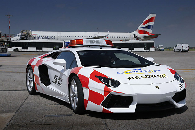 Lamborghini Aventador reports for cab avocation during Bologna airport