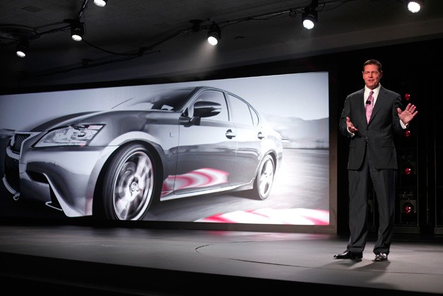 Lexus executive Mark Templin presenting