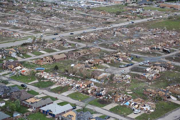 Oklahoma City-area tornado damage - helicopter overview