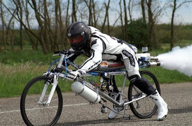 Video: Watch a rocket-powered bicycle set a new land speed record