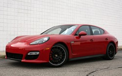2013 Porsche Panamera GTS - front three-quarter view, red