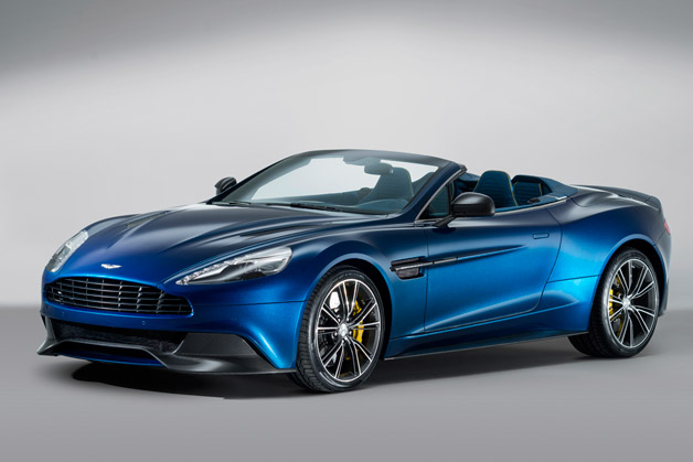 2014 Aston Martin Vanquish Volante - front three-quarter view, blue