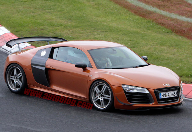 2014 Audi R8 GT spy shot - front three-quarter view