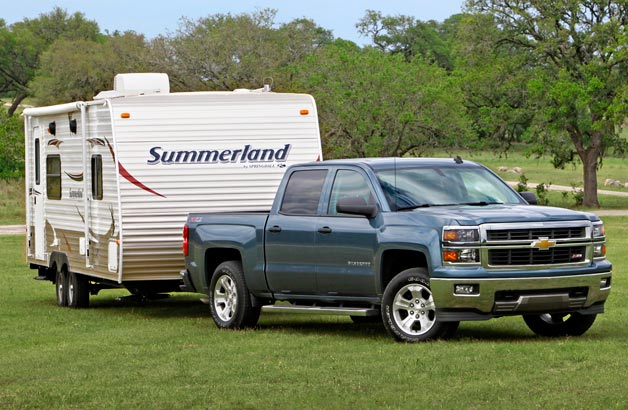 2014 Chevy Silverado towing Summerland camper
