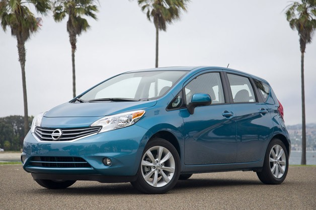2014 Nissan Versa Note - front three-quarter view with palm trees