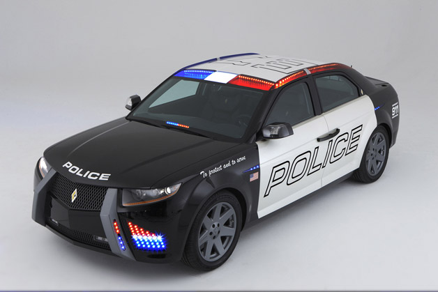 Carbon Motors E7 diesel police car - front three-quarter view