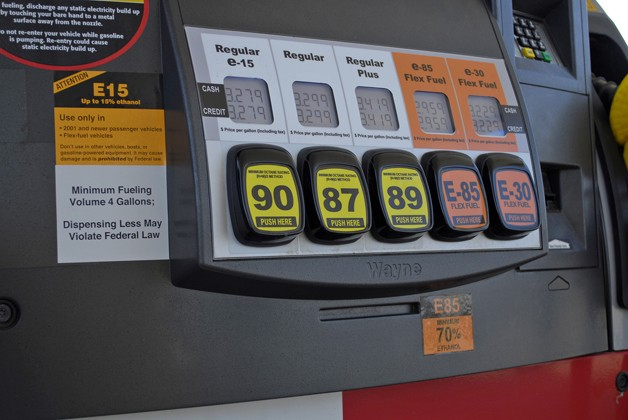 E15 ethanol fuel pump with warning stickers
