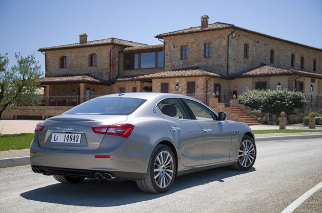 2014 Maserati Ghibli rear 3/4 view
