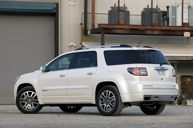 2013 GMC Acadia Denali rear 3/4 view