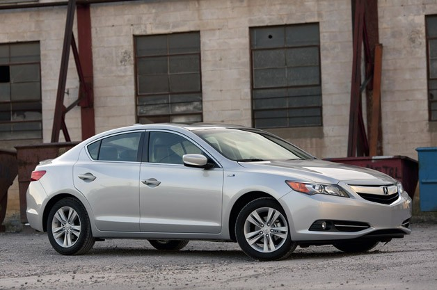 2013 Acura ILX Hybrid - front three-quarter view, silver