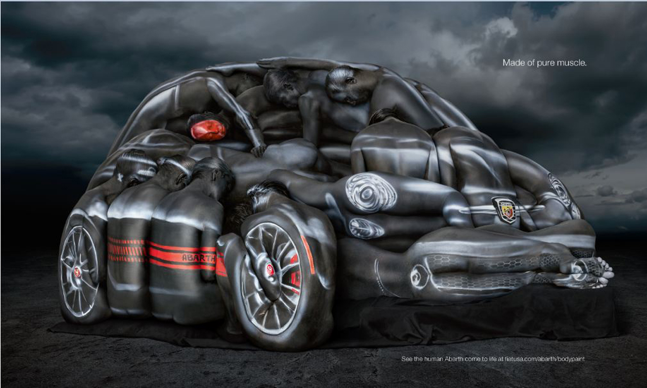 Fiat 500 Abarth Made From Models In Body Paint W Video