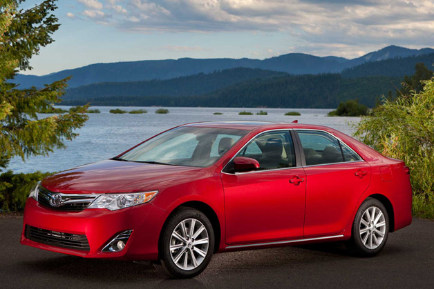 2013 Toyota Camry - front three-quarter view, maroon