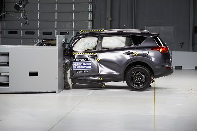 2013 Toyota Rav4 shown during the IIHS' small-overlap frontal crash