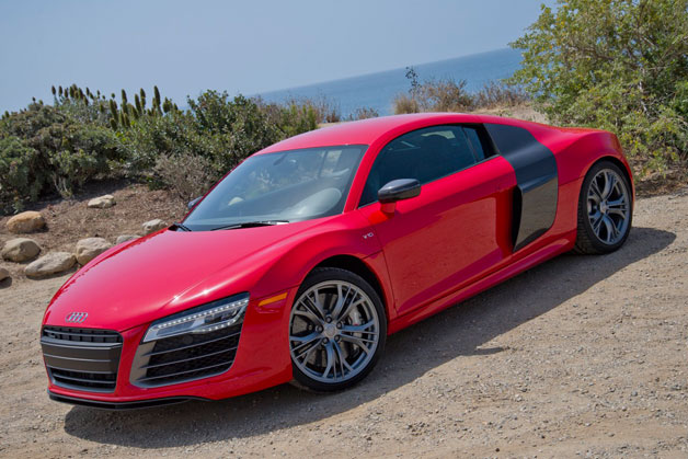 2014 Audi R8 V10 Plus - front three-quarter view, red