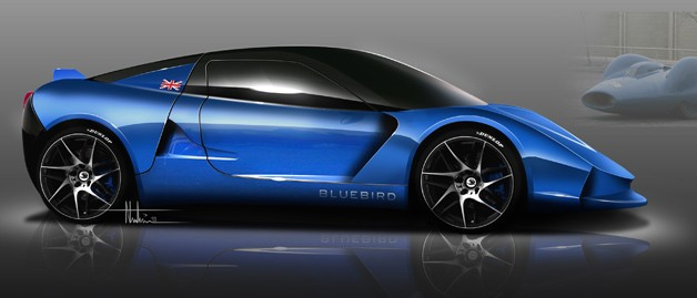 Bluebird DC50 Sports Car rendering - profile