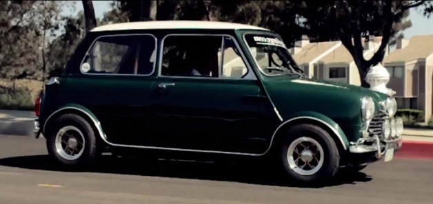 Original Mini Cooper in green with white roof - video screencap