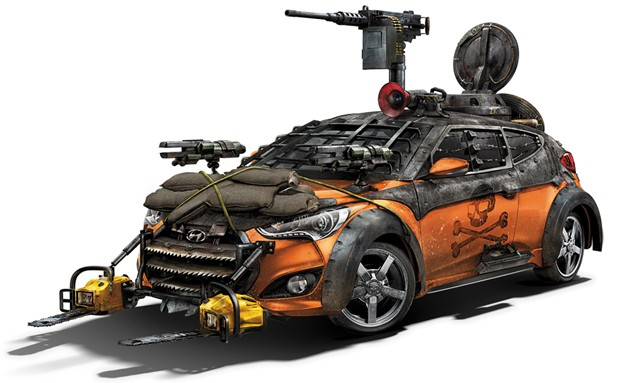 Hyundai Veloster Turbo made up for The Walking Dead tv show - front three-quarter view