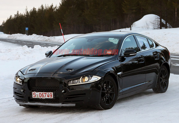 Jaguar XF-based 3-Series fighter mule - front three-quarter view, winter testing