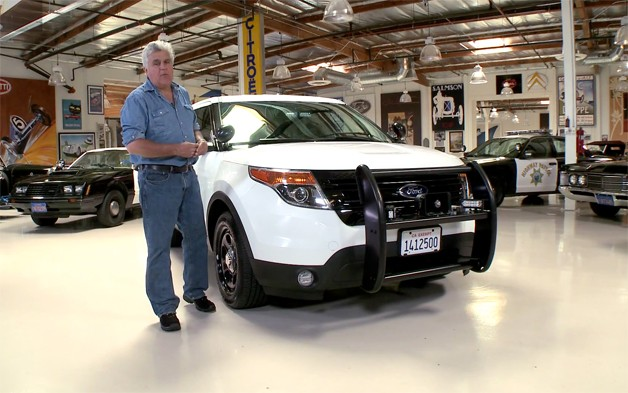 Jay Leno talks about CHP police cars in his garage - video screencap