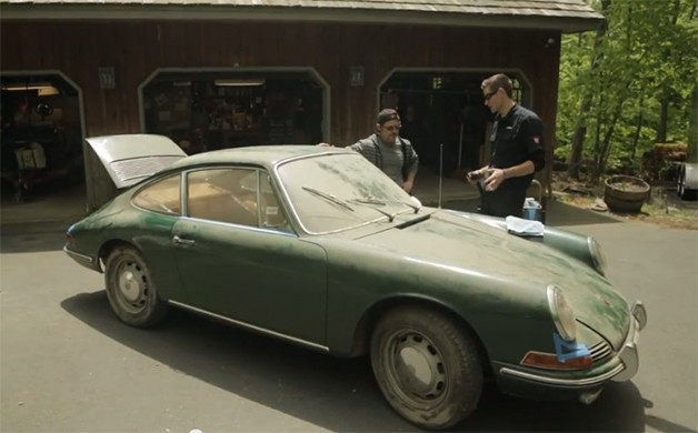Barn-find 1966 Porsche 912 gets a clean up job - video screencap