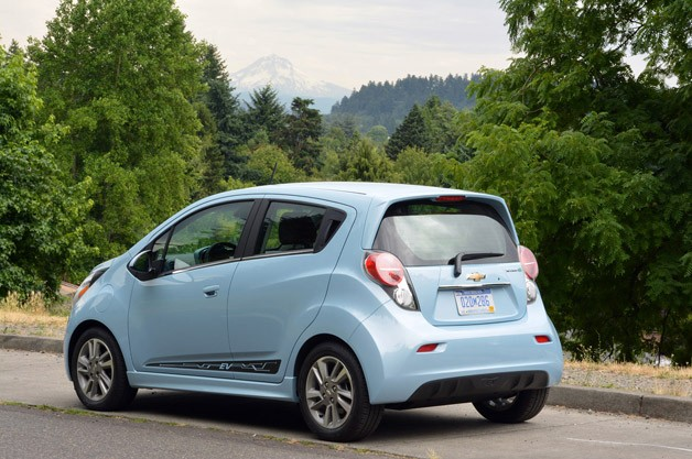 2014 Chevrolet Spark EV rear 3/4 view