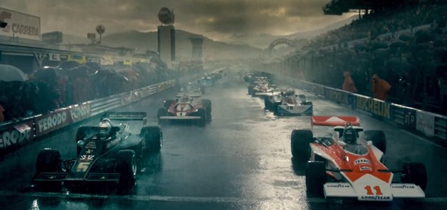 Rush The Movie - trailer screencap of F1 field in the rain