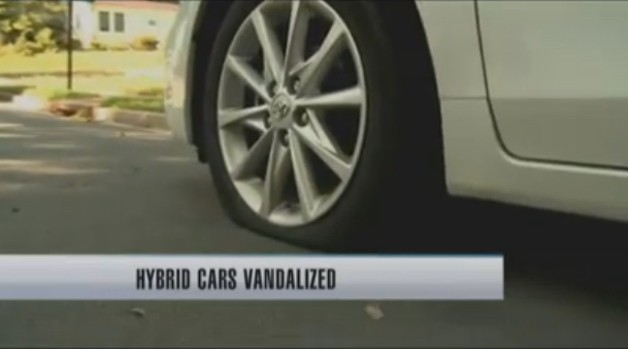 News report on Prius tire slasher in Arlington, VA - video screencap