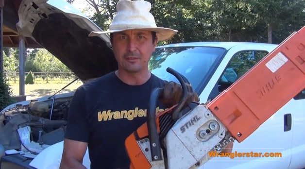 How to recharge your car's battery using a chainsaw - video screencap