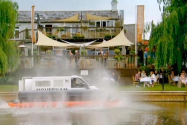 Top Gear Hovervan destroying a restaurant - video screencap