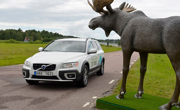 Volvo XC70 with moose statue - video screencap