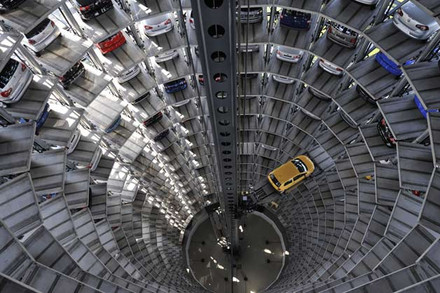 Volkswagen's car elevator and storage - overhead view