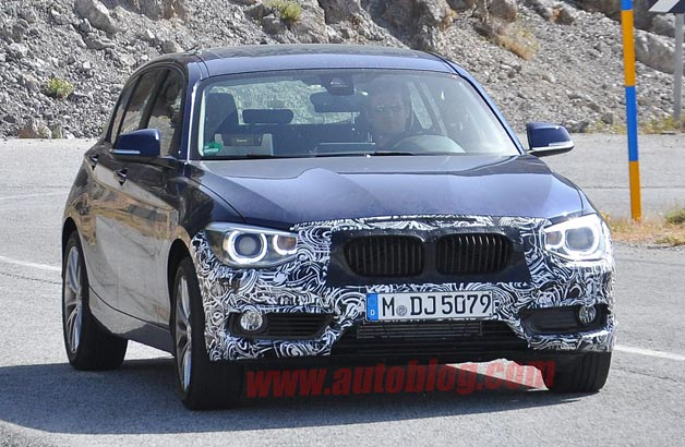 BMW 1 Series facelift spy shot - front three-quarter view