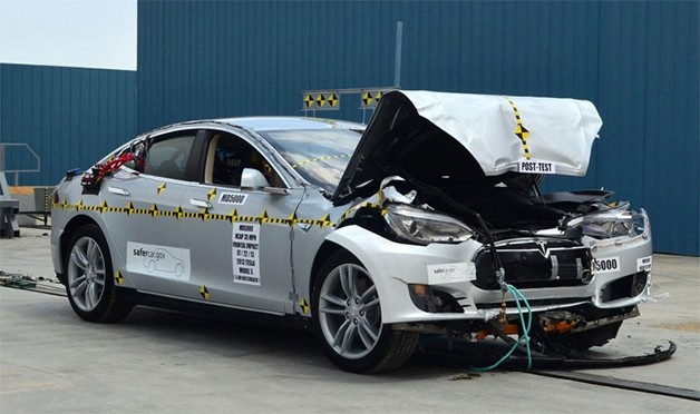 Tesla Model S after crash frontal crash testing by the National Highway Traffic Safety Administraion