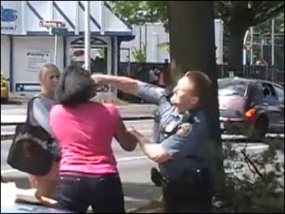Seattle Officer Punches Girl in Face During Jaywalking Stop, cop punches woman