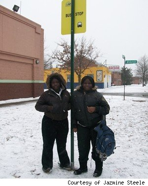 Cassie Ray and Lanora Daniels on Detroit's NorthEastside at a bus stop