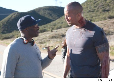 George Tillman Jr. & Dwayne Johnson on the set of