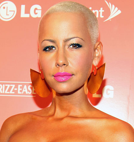 pictures of amber rose with hair. Amber Rose and her baldy.