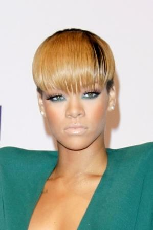 Blue or pink bangs, anyone? Long bangs, a la Rihanna.