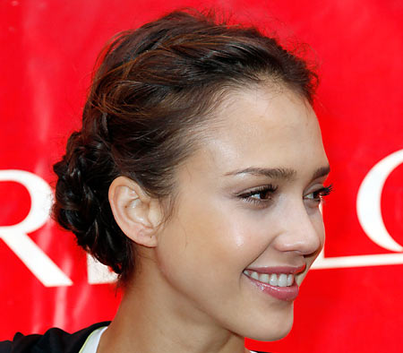 jessica alba hairstyles with braids. The raided updo was Jessica