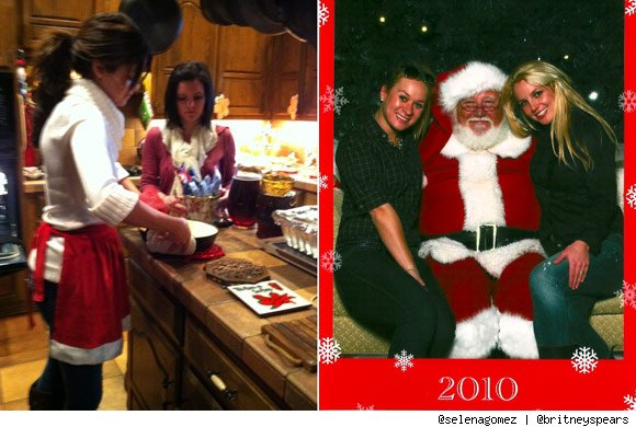 Selena Gomez and Britney Spears Holiday Twitter Pics