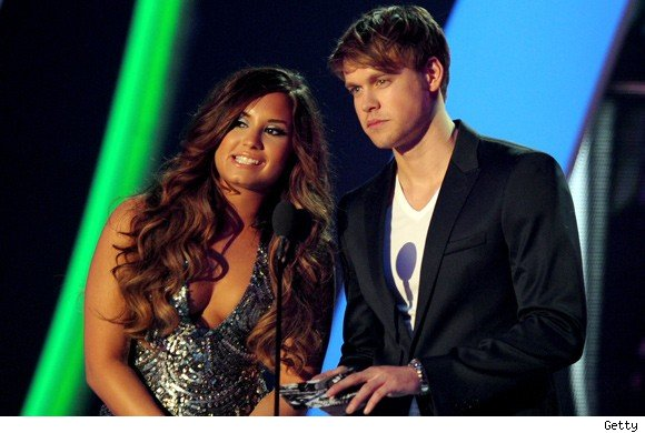 Demi Lovato and Chord Overstreet at the VMAs
