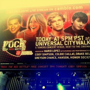 Rock The Red Kettle Live Blog w/ Cody Simpson, Greyson Chance, Colbie Caillat, Hanson & More