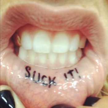 Kesha Lip Tattoo: &quot;Suck It&quot; Too Cool or Too Gross?