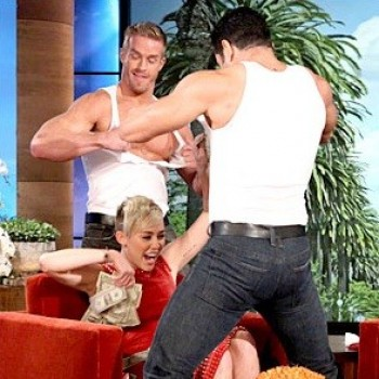 Miley Cyrus Gets a Surprise Stripper Lap Dance, Shuts Down Three Weddings Rumor on 'Ellen' (WATCH!)