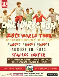 one direction, one direction tour, one direction 2013 tour, one direction staples center, new one direction staples center date, win one direction tickets