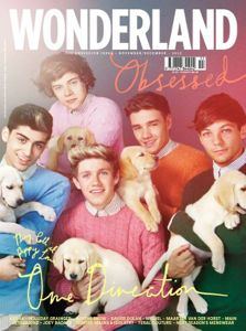 one direction, one direction puppies, one direction 2012, one direction wonderland, one direction wonderland magazine, one direction dog, one direction puppies cover, one direction puppies photo