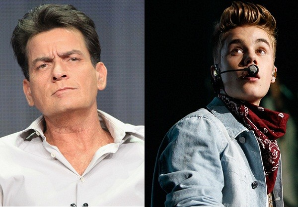Charlie Sheen and Justin Bieber