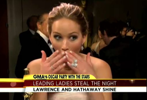 Jennifer Lawrence Jack Nicholson flirt Oscars video