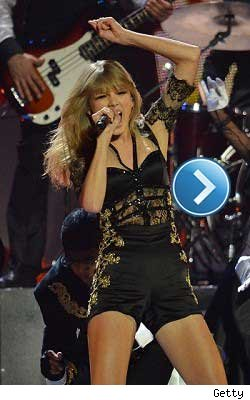 Taylor Swift performing at the BRIT Awards.