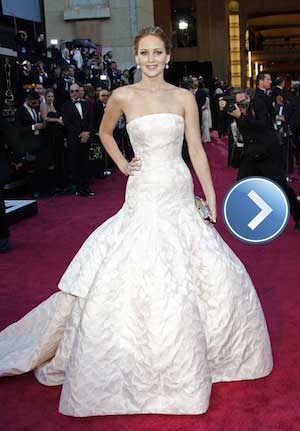 Jennifer Lawrence dazzles on the red carpet at the Oscars.